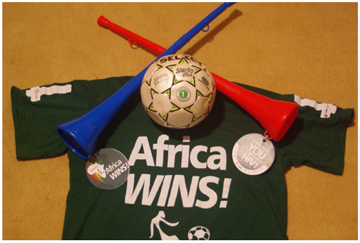 Vuvuzelas, T-shirts and Footballs with Campaign Message